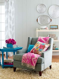 Colorful accessories home decor. Turquoise table.