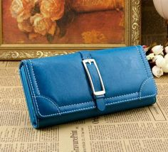 site for more info Clutch Wallet, Pu Leather, Corner, Blue, Women, Woman