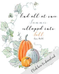 Fall Watercolor Pumpkin Printables
