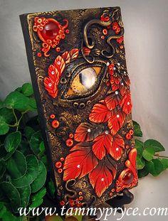 Ooak Polymer Clay Dragon's Eye Black & Red $85- by TammyPryce on Etsy