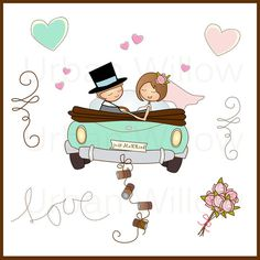 Just Married in mint - 13 piece Clip art set in premium quality 300 dpi, png and Jpeg files. Wedding Humor, Wedding Cards, Digital Invitations, Wedding Invitations, Just Married Car, Pink Rose Bouquet, Personalized Christmas Ornaments, Sell On Etsy, Gift Tags