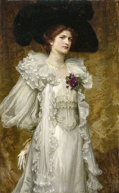 """""""My Lady Fair"""" -- 1903 -- Frank Dicksee -- British -- Oil on canvas -- Manchester Art Gallery, UK Frank Dicksee, Gustav Klimt, Manchester Art, City Gallery, English Artists, My Fair Lady, Painted Ladies, Victorian Art, Victorian Fashion"""