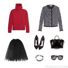 Clothing Articles With Dkny Sweater Balenciaga Ballet Beautiful Skirt And Suede Shoes From December 2015 #outfit #look