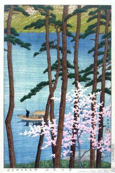 Arashiyama em Kyoto Artist: Kawase Hasui Data: 1934 Suporte: Cor Xilogravura Dimensões: 36,2 x 24 cm Tipo (imagem) Objeto: Print País: Japão Continente: Ásia Linha de Crédito: Fundação Achenbach para Artes Gráficas entre os ramos altos das árvores e as flores de uma árvore-de-rosa brilhante cereja é a vista de um lago. Um homem empurra um barco aberto japonês com três passageiros. (Sarah Ladipo 10/12/94)