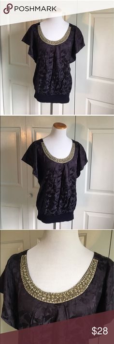 Anthropologie Velvet Brand Peasant Blouse Purple satin feel Blouse with silver Beaded neckline. Flutter sleeves. Excellent condition, no flaws. Anthropologie Tops Blouses