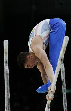 Bronze medallist Britain's Max Whitlock competes in the parallel bars event of the men's individual allaround final of the Artistic Gymnastics at the. Boys Gymnastics, Elite Gymnastics, Artistic Gymnastics, Olympic Gymnastics, Olympic Games, Max Whitlock, Mens Leotard, Male Gymnast, Olympic Swimming