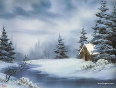 Winter landscape painting acrylic bob ross 32 Ideas - Everything About Painting Bob Ross Artworks, Bob Ross Paintings, Abstract Landscape Painting, Landscape Paintings, Impressionist Landscape, Watercolor Landscape, Peintures Bob Ross, Bob Ross Landscape, Winter Drawings