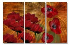 Poppies Collage Metal Wall Art Decor
