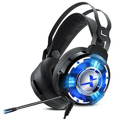 Gaming Headphones with Microphone,NUOXI Over Ear Large Speaker Unit Gaming Headset Surround Sound Stereo Noise Cancelling LED… Best Gaming Headset, Gaming Headphones, Headphones With Microphone, Best Headphones, Noise Cancelling Headset, Mac Laptop, Desktop Accessories, Surround Sound, Usb