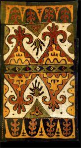 Kaitag Embroidery, Daghestan, 18th century, silk thread on cotton (photo courtesy Mehmet Çetinkaya Gallery) - READ on - Tomorrow's Headlines?: Oil & Textiles in Daghestan   Venetian Red Art Blog