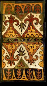 Kaitag Embroidery, Daghestan, 18th century, silk thread on cotton (photo courtesy Mehmet Çetinkaya Gallery) - READ on - Tomorrow's Headlines?: Oil & Textiles in Daghestan | Venetian Red Art Blog