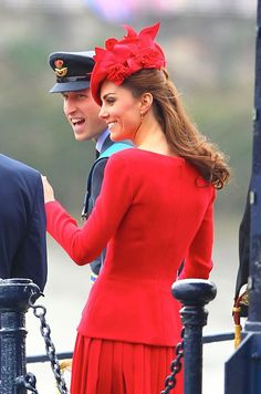 Piped aboard: Kate and William arrive at the boat--Kate wearing Alexander McQueen