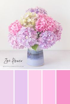 Pastel Hydrangeas Colour Palette in pinks and purples from lilac to lavender to dusky rose to pastel pink © Zoë Power Purple Color Schemes, Color Schemes Colour Palettes, Purple Palette, Pastel Colour Palette, Colour Pallette, Lilac Color, Pastel Colors, Pastel Pink, Pink Purple