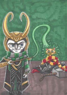 Avengers Hogwarts Harry Potter Loki Thor by MaiafirePrints on Etsy