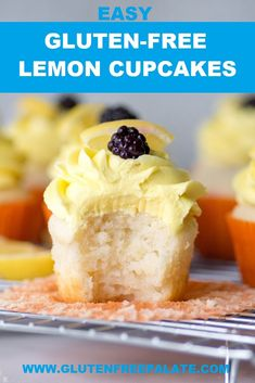 Simple, from scratch, Gluten-Free Lemon Cupcakes. This bakery-style cupcake is tender and has the perfect amount of lemon. You are going to love these simple, from scratch, Gluten-Free Lemon Cupcakes. This bakery-style cupcake Gluten Free Deserts, Gluten Free Cupcakes, Gluten Free Sweets, Foods With Gluten, Gluten Free Cooking, Dairy Free Recipes, Gluten Free Lemon Cake, Gluten Free Icing, Lemon Cupcakes
