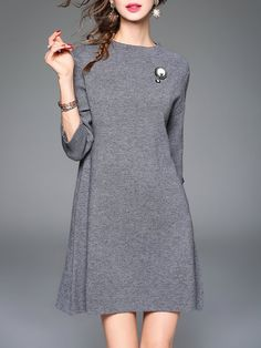 Shop Mini Dresses - Gray 3/4 Sleeve Crew Neck Mini Dress online. Discover unique designers fashion at StyleWe.com.