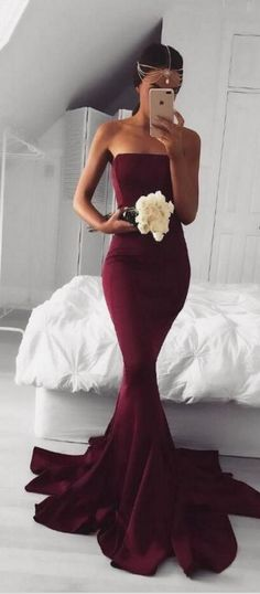 Satrapless Prom Dresses,Long Prom Dress,Mermaid Prom Dress,Simple Prom Dress,Burgundy Prom Dress,Sexy Evening Dresses,Evening Gowns,Prom Dresses For Teens,Prom Dresses 2017,Cute Dresses DR0001