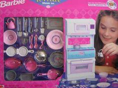Barbie Fun Fixin' Stove Set w Pots, Pans & Accessories (1997 Arcotoys, Mattel)
