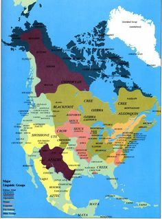 The Americas: Native Americans & Linguistic Groups color-coded by major language families. Eskimo Aleutian, dark blue; Athabaskan, dark maroon; Algonquian, green; Siouan, pink/peach; Iroquoian, tan; Uto Aztecan, yellow; Other Groups, light green. (Antranik – November 23, 2012)