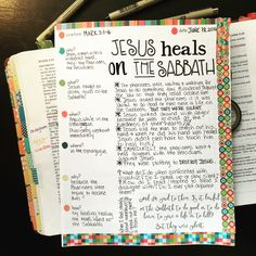 Day 7 of Bible Journaling the Gospel of Mark. I love the process of Bible Journaling. If I just read a passage and do nothing with it I usually remember ZILCH about it. But if I dig into it, read it over and over and then write, doodle or paint what I am learning I remember so much more! Head on over Farm Girl Journals on ETSY and see all of the awesome journals they have! #BibleJournaling #FarmGirlJournalsBibleJournals #BibleStudy