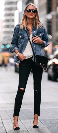 #fall #outfits  women's blue button-up denim jacket, white shirt, and black leggings