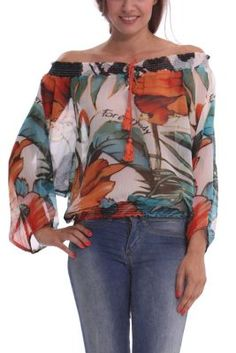 Desigual women's Celia blouse in semi-sheer gauze fabric. Elasticated neck, hem and cuffs. A sexy and comfortable blouse.