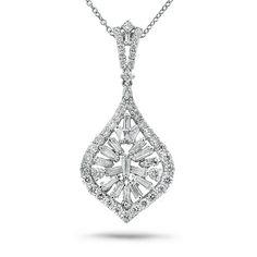 2.40ct 18k White Gold Diamond Pendant Necklace -allurez.com