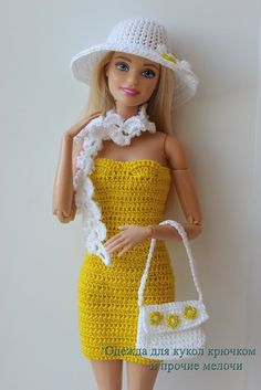 Αποτέλεσμα εικόνας για free crochet doll costumes for barbie dolls Crochet Doll Dress, Crochet Barbie Clothes, Barbie Fashionista, Accessoires Barbie, Barbie Clothes Patterns, Barbie Dress, Barbie Doll, Doll Dresses, Doll Costume