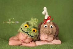adorable grinch and max hats for newborn holiday baby pictures - $45