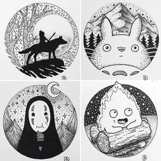 Monoke, totoro, no- face, calcifer Studio Ghibli Tattoo, Studio Ghibli Art, Karten Diy, Anime Tattoos, Illustration, Hayao Miyazaki, Howls Moving Castle, Art Inspo, Art Drawings