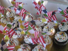 CircusPinwheel CupcakeToppersStephanie by pinwhirls, via Flickr