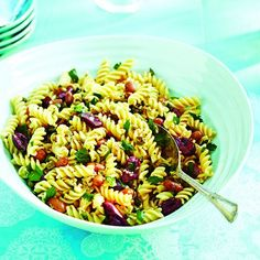 Make this protein-packed Mediterranean summer pasta salad with romano beans, olives and capers and amp-up the protein even more by adding feta and sausage.
