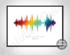 Hallelujah, Custom Sound Wave Artwork, Printable digital files, Instant download soundwave posters, Choose your favourite song and colours Sound Wave Picture, Printable Art, Printables, Sound Waves, You Are The Father, Custom Art, Order Prints, Printing Services, Personalized Gifts