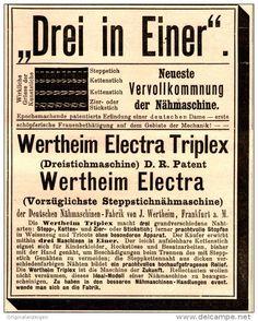 Original-Werbung/ Anzeige 1894 - WERTHEIM ELECTRA TRIPLEX NÄHMASCHINE / FRANKFURT a.M. - ca. 90 x 110 mm