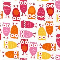 Ann Kelle Urban Zoologie Owls Pink Fabric  by luckykaerufabric, $5.76