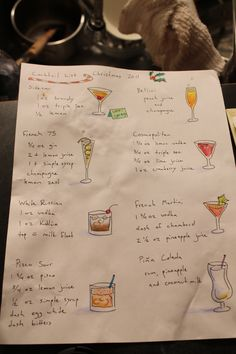 This year's Christmas Party cocktail menu.