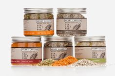 Get Your sea salt on! The Gourmet Gab: Sugar, Spice, and Everything Nice! Vegetable Packaging, Spices Packaging, Cool Packaging, Bottle Packaging, Packaging Design, Gourmet Salt, Soap Labels, Gourmet Gift Baskets, Kaffir Lime