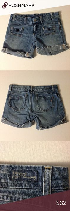 """Citizens of Humanity Denim Shorts - Distressed Citizens of Humanity Denim Shorts - Distressed. Length 13"""", Waist 14"""", Inseam 6"""". Low Rise. Frayed bottoms - See Pictures for details. Excellent Condition -no Flaws no Fading. Retail $178.00 #11081601 Citizens of Humanity Shorts Jean Shorts"""
