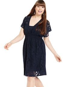 Lovely navy plus size lace dress I would TOTALLY wear this one!!!@Kalee Lundy Schneider @Kalee Lundy Schneider