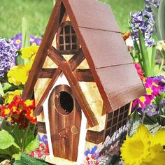 handpainted birdhouses | Hand Painted Cottage Birdhouse by PaintBrushedBoutique on Etsy