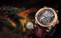 Louis Moinet The Dragon Tourbillon combines an ancient legend with a pre-historic fossil to bring the dragon back to life in one exquisite timepiece.  Engraving the Dragon requires more than 50 hours of work, and is done entirely by hand using a piece of 18K white gold.