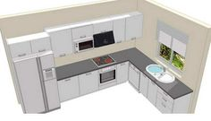 l shaped kitchen design with window - Google Search