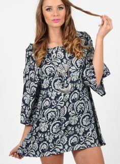 Black Floral Dress - Black Floral Print Party Dress