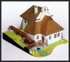 A Beautiful Water Mill House Free Building Paper Model Download - http://www.papercraftsquare.com/beautiful-water-mill-house-free-building-paper-model-download.html