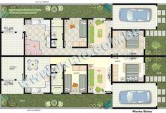 Plantas humanizadas e decoradas das casas geminadas térreas Duplex Apartment, Apartment Plans, Puerto Barrios, Row House Design, Home Design Plans, House Layouts, Planer, House Plans, Floor Plans