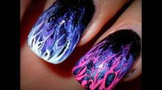 Hunger Games Nail Art: Flame Marble Tips, (Level 1), via YouTube.