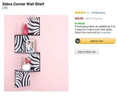 Shelf for zebra bedroom