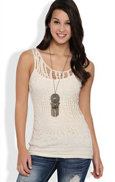 Deb Shops Crochet Front Tank Top $17.17