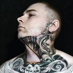 Artist starts an epic throat piece on collector - tying in the neck work of and chest by Nikko Hurtado, Throat Tattoo, I Tattoo, Neck Tattoo For Guys, Tattoos For Guys, Kneck Tattoos, Tribal Arm, Filigree Tattoo, Graphic Design Tattoos