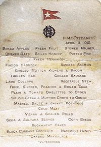 Titanic First Class Breakfast Menu